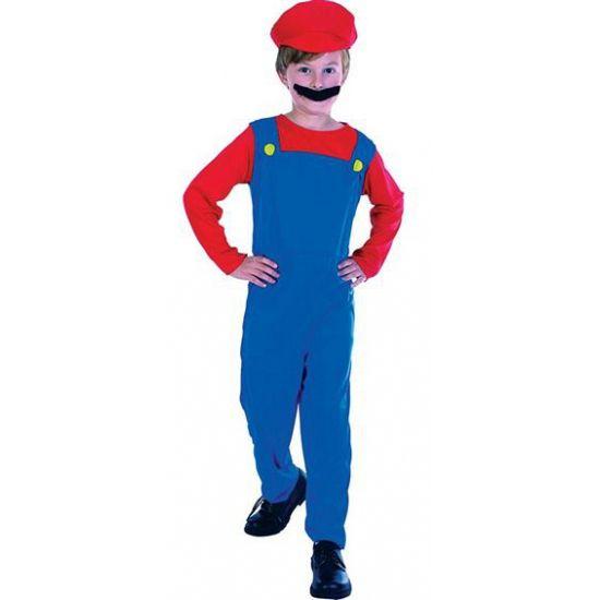 Loodgieter Mario kostuum voor kinderen. Dit Loodgieter Mario kostuum voor kinderen bevat een blauwe overal met rood shirt en een rode hoed. Exclusief snor. Carnavalskleding 2015 #carnaval