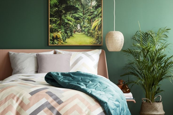 Jungle Green velvet bedspread from Notes By Susanne Schjerning