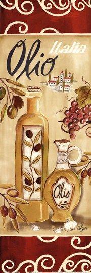 Olives On Red I by Rebecca Lyon art print, aceite de oliva,
