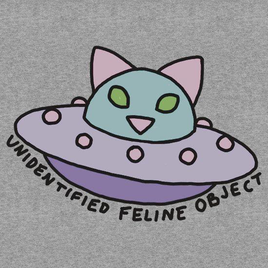 UFO alien cat kitten space 90s pastel neon print