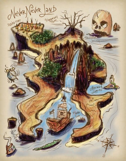 Who used to spend their childhood drawing treasure maps? Lovely one of Peter Pans Never Never Land here.