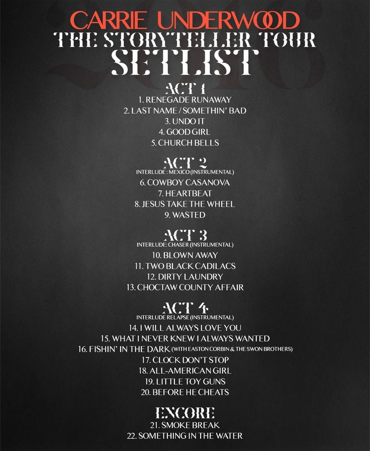 The Storyteller Tour Setlist!... - CUFacts