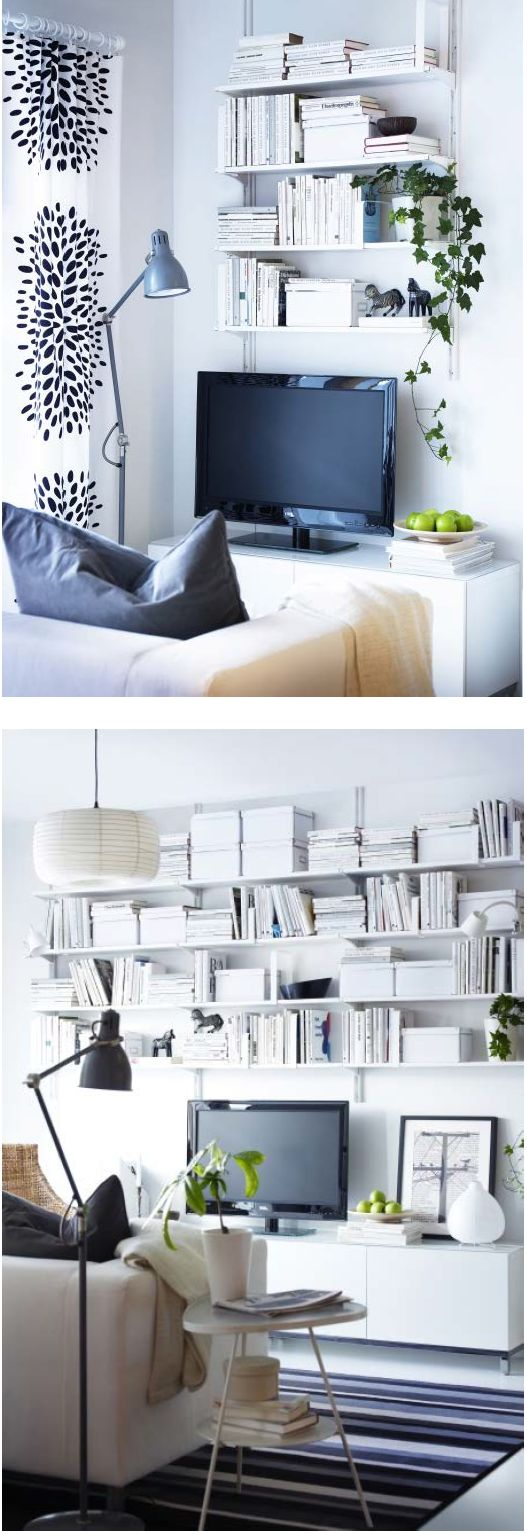 Don't let wall space be wasted space. Wall shelves turn empty walls into a great place to store and show off your things.