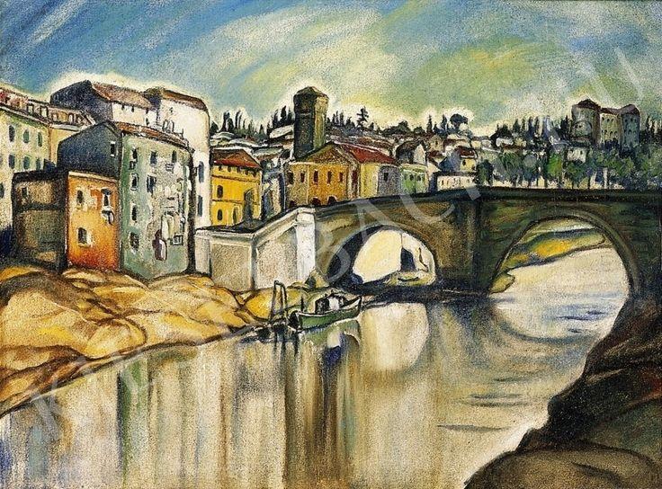 Batthyány Gyula - Itáliai város római híddal   14. Aukció aukció / 42 tétel
