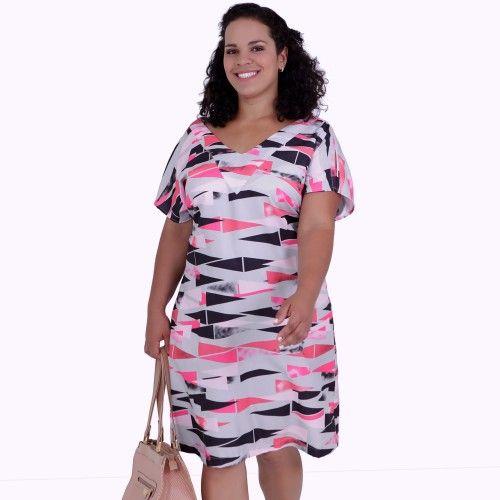 810563348b Vestido Japo Plus Size - Vestido Japo Estampado Vestido plus size em seda  estampado com fundo