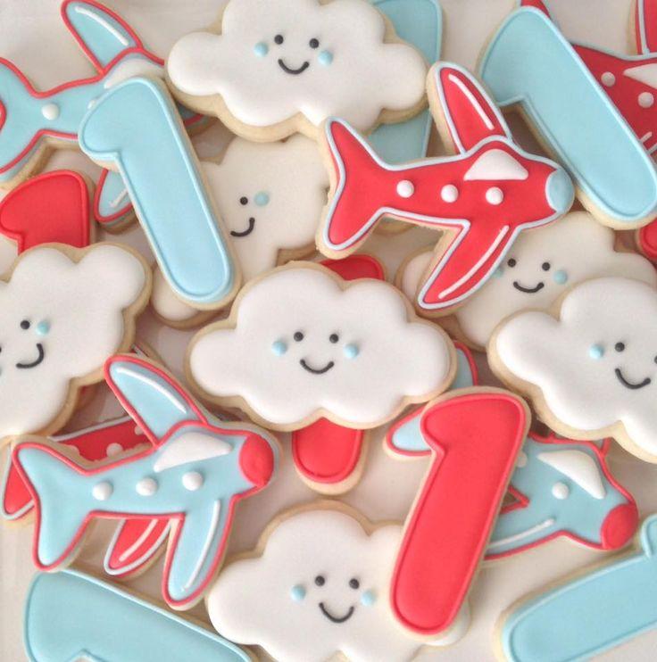 Airplane cloud first birthday cookies