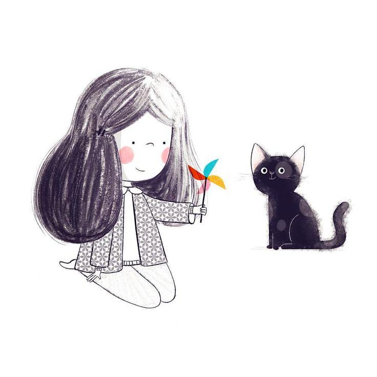 "50 Likes, 1 Comments - Alea (@aleazui) on Instagram: ""Girl, cat, pinwheel. #art #artist #instaart #artwork #illustration #childrensillustration…"""