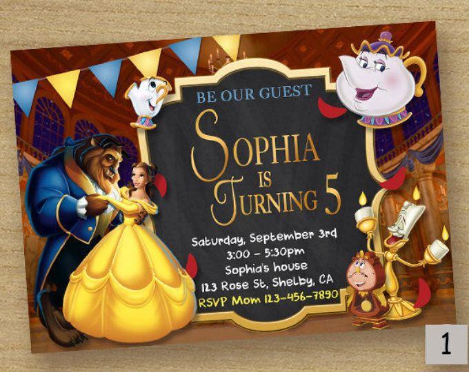 Invito di bella e la bestia, Beauty bellezza compleanno invito alla festa, bellezza bestia scheda stampabile del partito, Disney, Principessa Belle invito