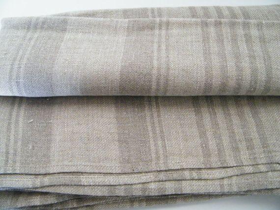 2 Natural Linen Bath Towels, Large Bath Sheets,  Huckaback, Gray Ecru Lighter Darker Stripes, for Spa, Sauna, Baby Care on Etsy, $62.00