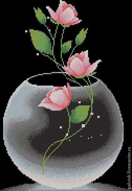 """Схема для вышивания бисером """"Роза в вазе"""" - схема вышивки бисером,схема роза в вазе"""