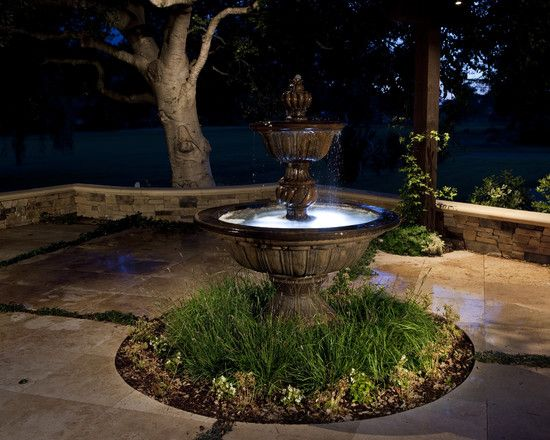 Tremendous Water Fountains With Lights Make Your Garden Brighter : Superb Water Fountain With Lights With Small Pond Surrounded By Green Pla...