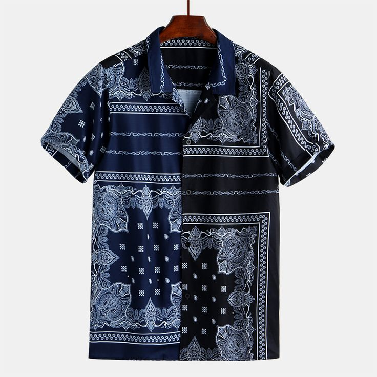 Men Bandana Print Short Sleeve Casual Shirts