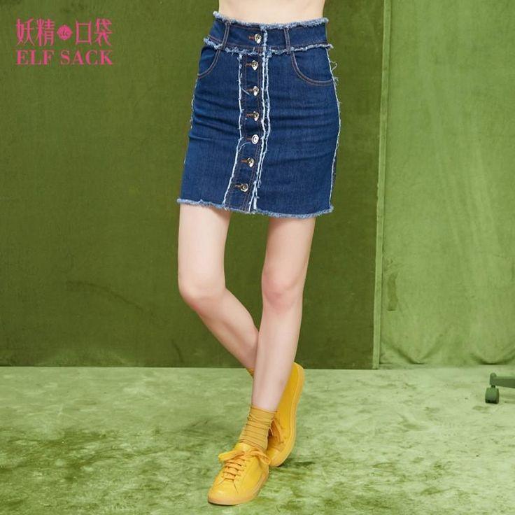 ELF SACK 2017 spring women high waist denim skirts female water wash mini jeans skirts wrap skirt ladies denim short skirt