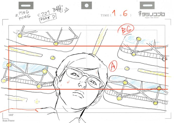 """ca-tsuka: """" Ping Pong animations by Bahi JD (see more on twitter). """" (ピンポン) バヒ・JD: layouts and roughs that I did. レイアウトとラフ原画"""