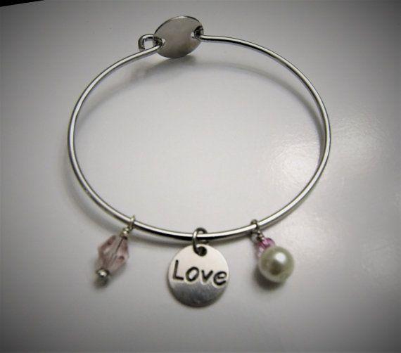 Heart/Love Bangle Charm Bracelet by WhitneyGrayDesigns on Etsy