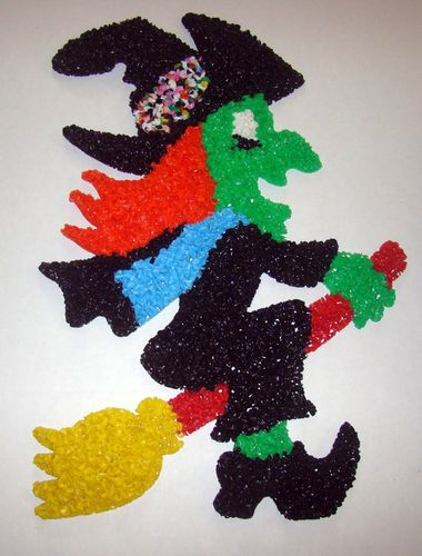 "Colorfull Vintage 19"" Melted Plastic Popcorn Halloween Witch Decoration EUC   eBay"