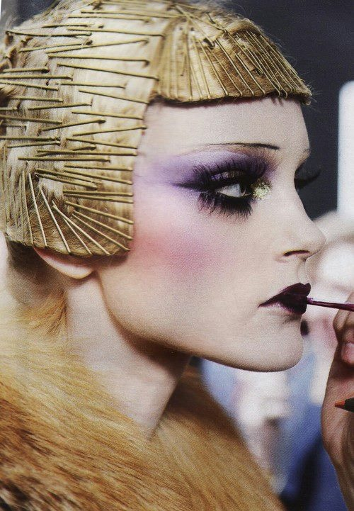 Jessica Stam at Dior runway makeup behind the scenes (pretty sure it is Pat Mcgrath key makeup artist)