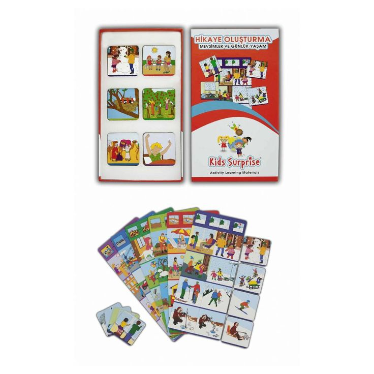 Hikaye Oluşturma – Mevsimler ve Günlük Yaşam Yaş:5+ Mevsimler ve günlük yaşamla ilgili 24 farklı hikayenin oluşturulması Kullanım Şekli:Aynı renkte çizgi ile işaretlenmiş olan ana tabela ile 8 adet tamamlama kartı seçilir. Tamamlama kartları tabelanın üstündeki örnek eşleştirme dikkate alınarak ana tabelanın sağ ve sol tarafına yerleştirilir. Yerleştirme işleminden sonra tamamlama kartları dıştan içe gelecek …