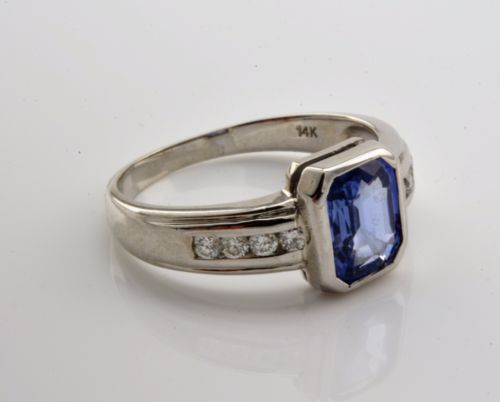 BEAUTIFUL-RING-DIAMOND-amp-GEMSTONE-SOLID-WHITE-GOLD-14K