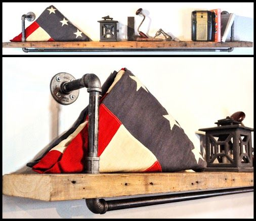 This industrial-style shelf is easy on the eyes and the wallet! You can DIY with some steel piping, fittings, and reclaimed lumber.