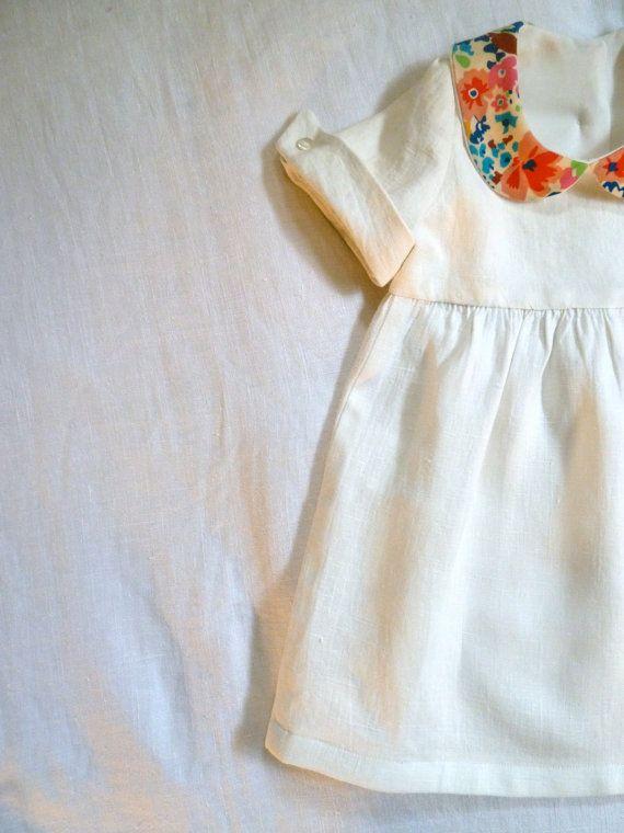 Modern heirloom-linen w/ liberty peter pan collar & french cuffs girls dress
