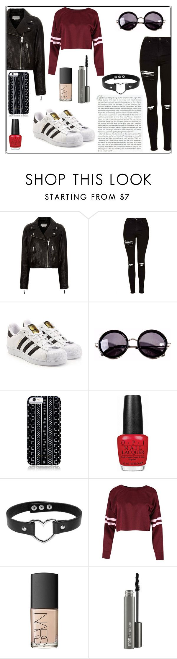 """Untitled #5"" by majda1003 ❤ liked on Polyvore featuring Étoile Isabel Marant, Topshop, adidas Originals, Linda Farrow, Savannah Hayes, OPI, Stop Staring!, NARS Cosmetics and MAC Cosmetics"