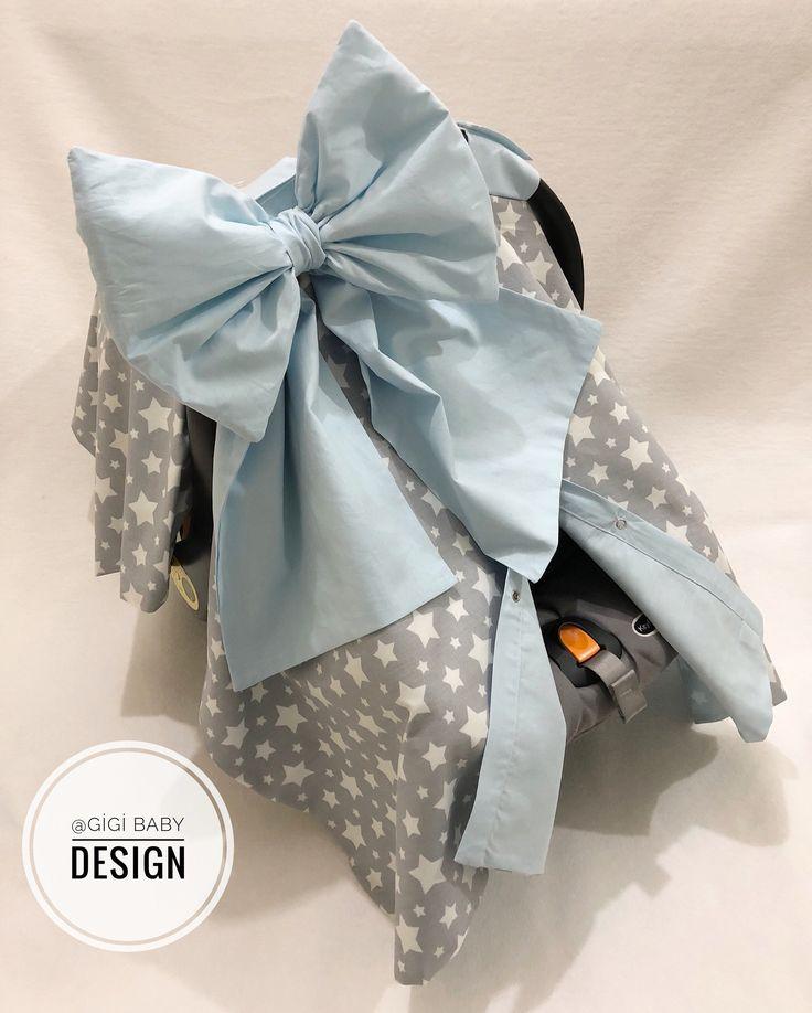 Graue Sterne und Baby Blue Autositz Baldachin Abdeckung für Baby Boy, personalisierte Carsear Cover