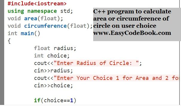 Write A C Program To Calculate Circle Area Or Circumference The User Will Input A Radius And A Choice Of 1 Or 2 1 Is Algorithm Calculate Area Circumference