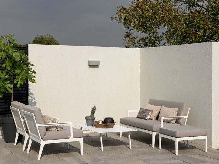SEVILLA Lounge Fußhocker für Gartenset Exotan | Weiß & Taupe #garten #gartenmöbel #gartensofa #gartenlounge #loungegruppe #sitzgruppe #gartensessel #alu #modulsofa #ganzjährig #wetterfest #günstig #kaufen #design #designmöbel
