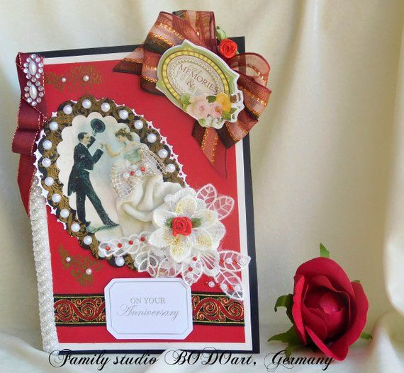 Tarjeta de aniversario Elegante, personalizada, tarjeta del día de la boda Milestone en rojo rubí, encaje y perlas. Tarjeta para padres, abuelos, pareja, amigo   – Handmade, personalised Cards