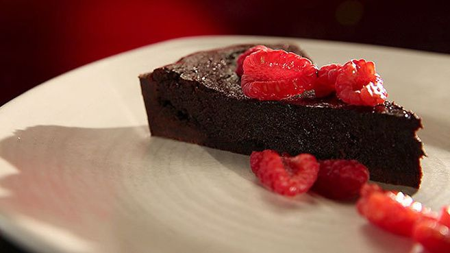 Double Chocolate Tart with Raspberries
