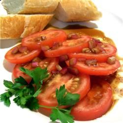 Mediterranean Summer Tomatoes: Seriously the YUMMIEST and easiest, freshest tomato dip/spread.  I paired this with my homemade pesto and feta on toasted french bread....mouthwatering goodness!