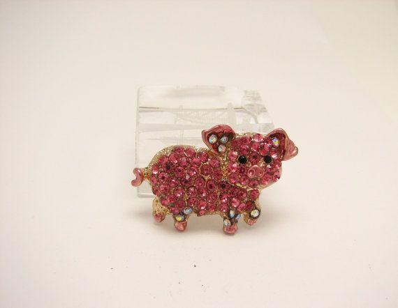 Little pig brooch $18 https://www.etsy.com/listing/237574051/pink-pig-brooch-rhinestone-broach-pigs