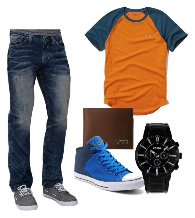 """Xepher's Everday Look"" by xicanti on Polyvore featuring Hollister Co., FOSSIL, Vans, Affliction, Converse, men's fashion and menswear"