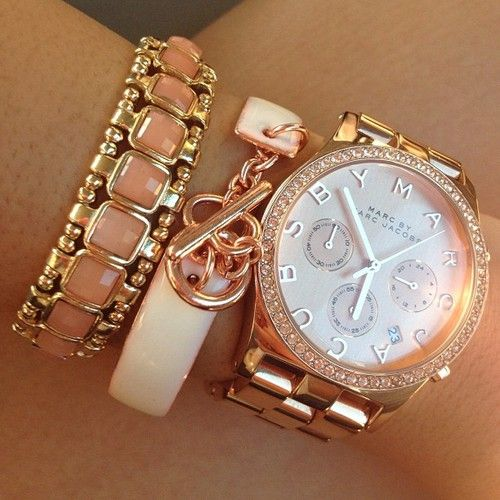 rose goldRose Gold Jewelry, Gold Arm Candy, Arm Party, Rose Gold Watches, Marcjacobs, Marc Jacobs, Gold Accessories, Arm Candies, Arm Parties