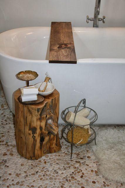 DIY bathtub shelf.  So easy a caveman could do it!