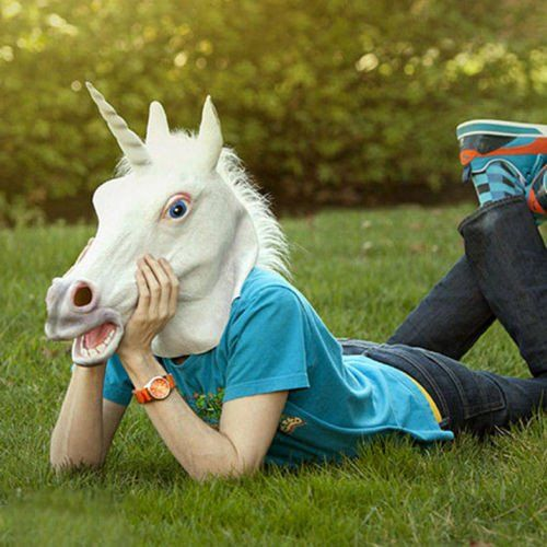 - For ages 14 and up - Unicorn head mask - Get as a costume, to mess with some friends! - High quality, high definition mask - This item is tons of fun!