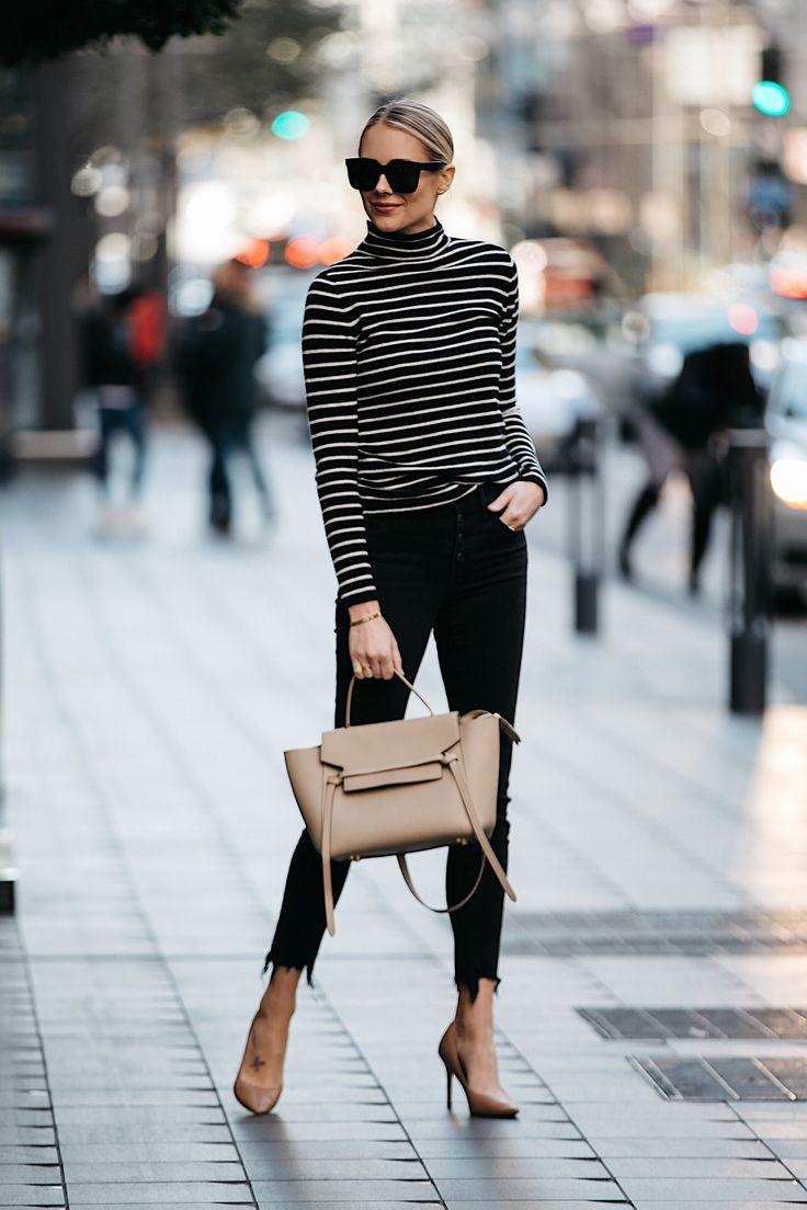 Blonde Woman Wearing Nordstrom Black White Striped Turtleneck Sweater Black Skinny Jeans Nude Pumps Outfit Celine Mini Belt Bag Fashion Jackson Dallas Blogger Fashion Blogger Street Style