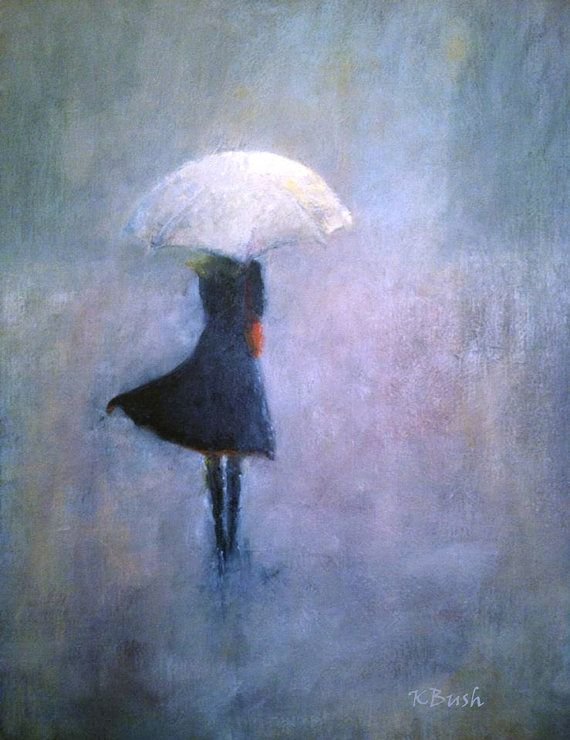 oil painting of girl walking in a gray mist/rain by KatBushArt, $400.00