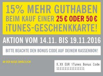 Lidl: iTunes-Guthaben von bis zu 7,50 Euro geschenkt beim Kauf von Karten https://www.discountfan.de/artikel/c_discounter/lidl-itunes-guthaben-von-bis-zu-750-euro-geschenkt-beim-kauf-von-karten.php Ab sofort und nur bis Samstag gibt es bei Lidl 15 Prozent mehr Guthaben beim Kauf einer iTunes-Geschenkekarte im Wert von 25 oder 50 Euro – Discountfans erhalten so bis zu 7,50 Euro geschenkt. Lidl: iTunes-Guthaben von bis zu 7,50 Euro geschenkt beim Kauf von Karten (Bild: