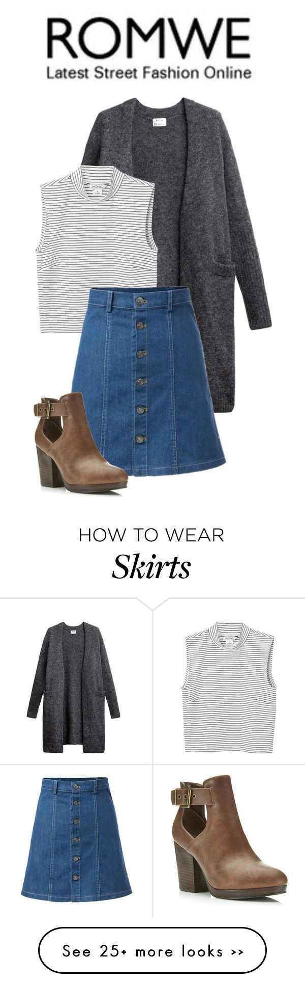 """""""A-Line Denim Skirt-ROMWE"""" by annamarialeal on Polyvore"""