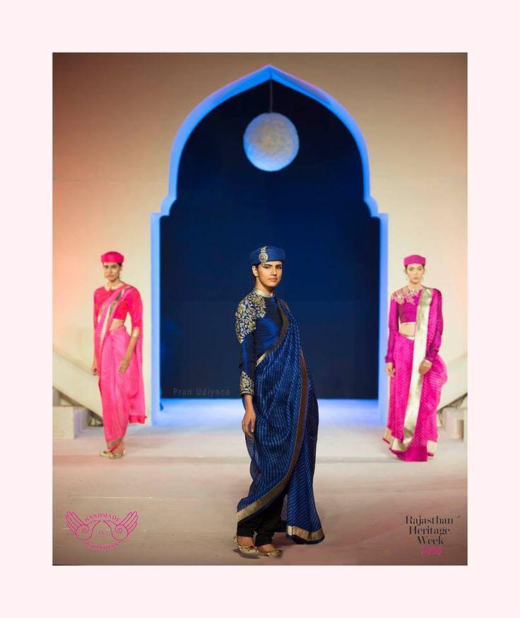 Mharo Des Collection -Feel like royalty in this blue leheriya kota. Vidhi Singhania.