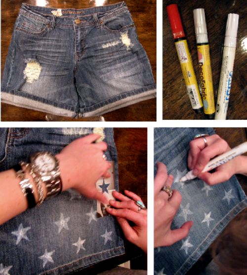 DIY flag denim cutoffs. via bleach black.