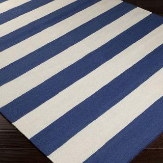 Handwoven RoyalStripe Blue Corn Wool Rug (5' x 8') | Overstock.com $215