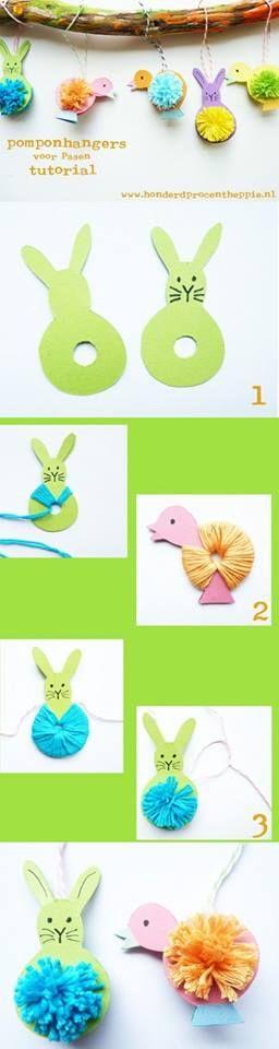 Knutselen voor Pasen, maak lentetak hangers met pomponnen!