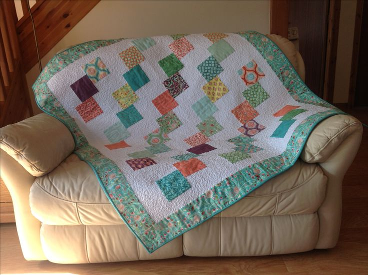 Falling Charms quilt.  Made from a charm pack.