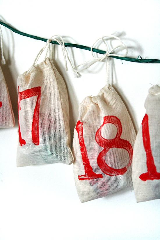 hanging bags for advent calendar