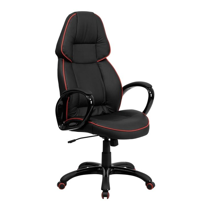 Offex High Back Black Vinyl Executive Office Chair with Red Pipeline Border [OF-CH-CX0248H01-VEN-GG]