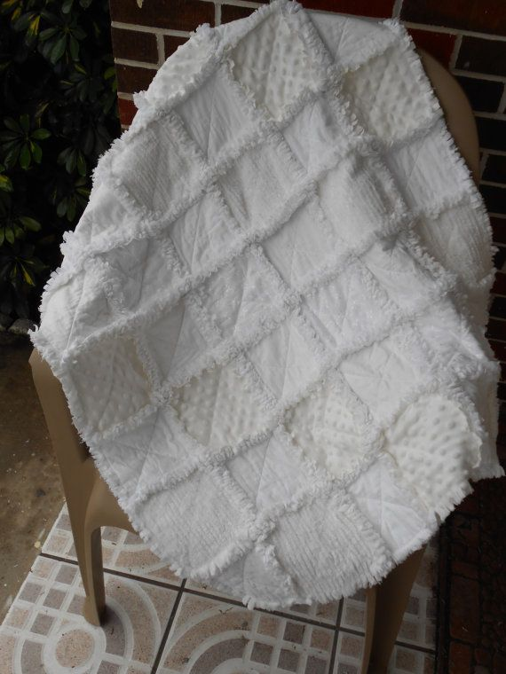 All White Baby Girl Rag Quilt chenille minky eyelet lace tonal butterflies cotton flannel photo prop on Etsy, $42.00