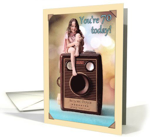Happy 70th Birthday Cute Smiling Girl On Vintage Camera